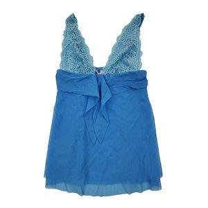 Victoria Secret Teddie S Lingerie Blue Lace Sheer